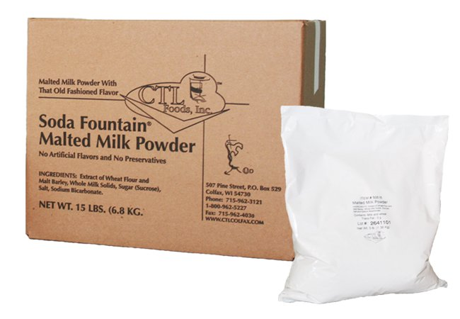 Soda Fountain Malted Milk Powder - Five 3 Pound Bags
